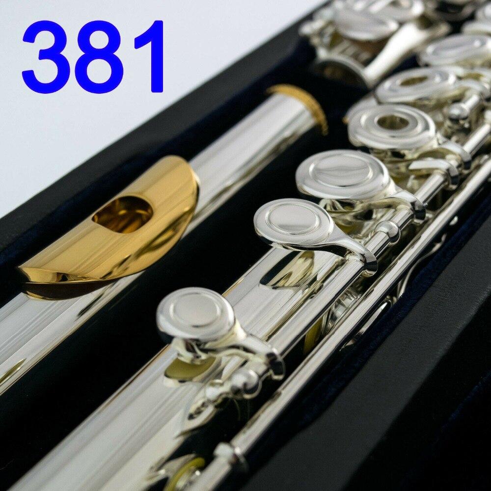 Япония профессиональная флейта 381 Посеребренная флейта инструмент флейты Позолоченные пластина для губы 17 отверстий открывающийся, закрыв