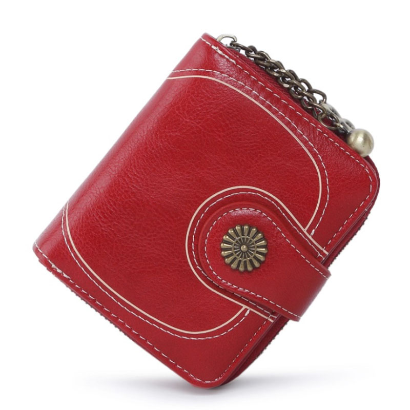 High quality artificial leather vintage womens wallets female short coin pocket purse ladies zipper button small retro wallet