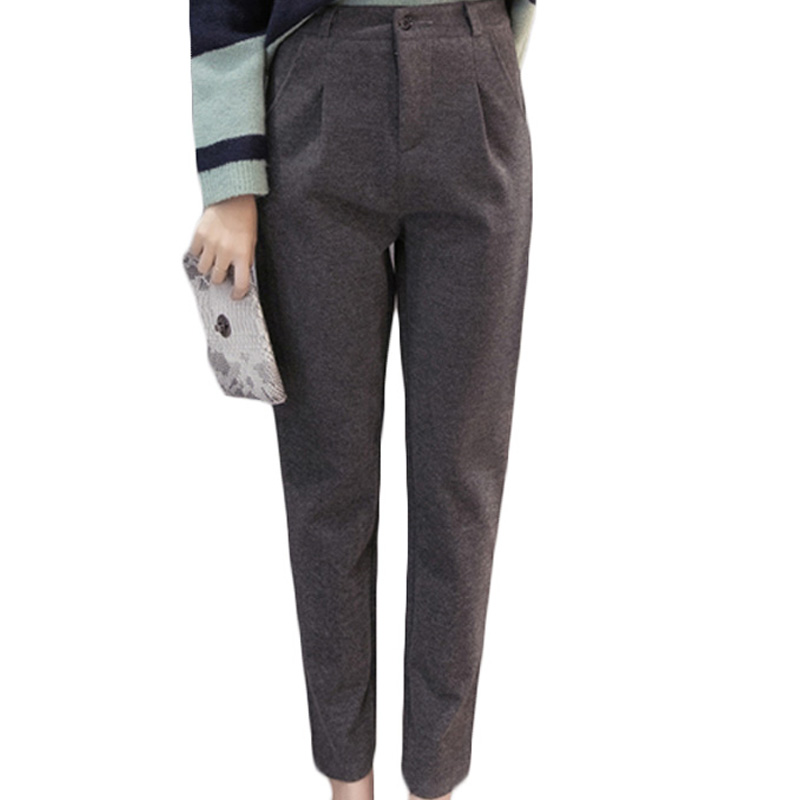 Autumn Winter Warm Woolen Pants Women Work Wear Suit Office Formal Pant Casual Long Warm Winter ...