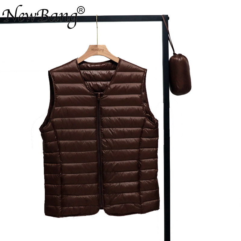NewNewBang Spring Couples V-Neck Man's Ultra Light Down Vest Zipper Waistcoat Warm Liner Vest Portable
