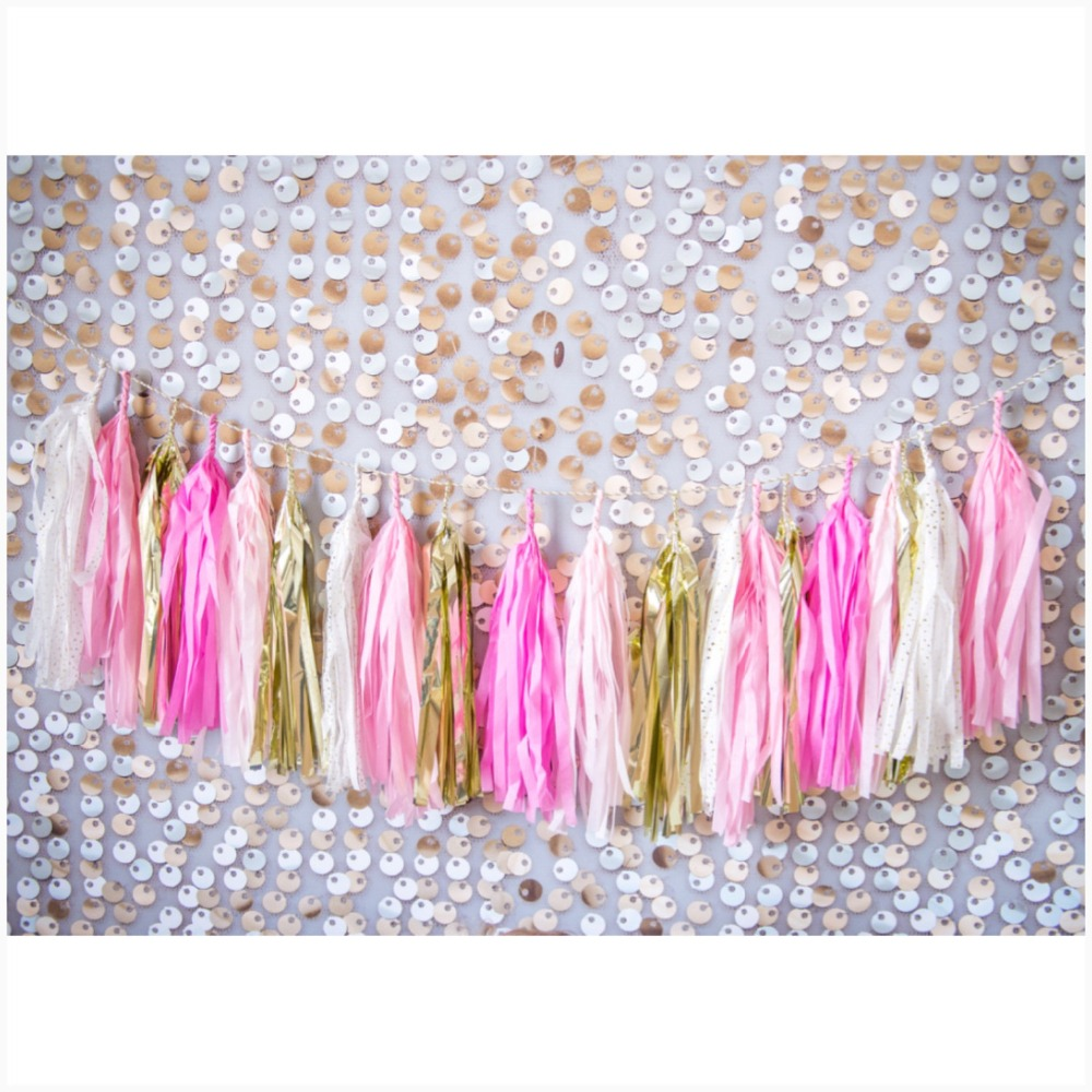 Rainbow Colorful Baby Shower Paper Tissue Tassel DIY Hang Garland Tassel Mermaid Bunting Party Decor Supplies