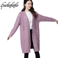 2018 Girl Casual Long Knitted Cardigan Spring Korean Women Loose Solid Color Twist Pocket Design Sweater