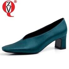 ZVQ Silk Women 5 cm med heels Sheepskin Genuine Leather Pumps 2019 spring summer Casual girl plus size Rome Satin shoes