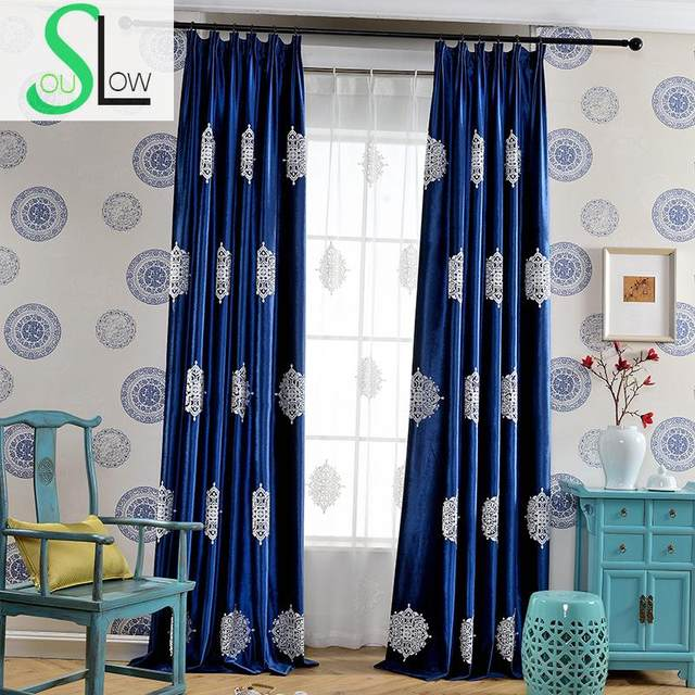 Slow Soul Mark Dark Blue Green Velvet Curtain Bedroom Curtains European Embroidered French Window For Living Room Tulle Kitchen