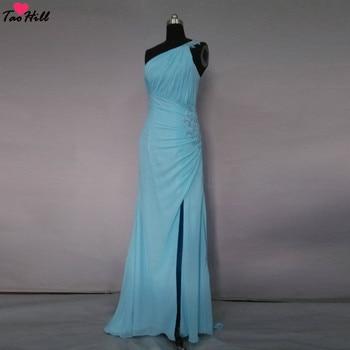TaoHill Elegant Blue Chiffon Bridesmaid Dress Applique Beads Pleats Mermaid Party Dresses Slit One Shoulder Bridesmaid Gown