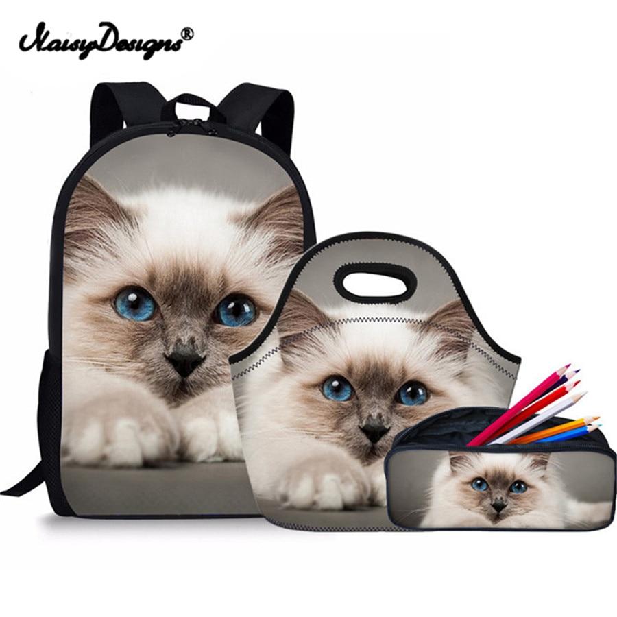 Kawaii Siamese Cat Animal Print School Backpack for Girls Children Backpacks Harajuku Minnie Bag Cat Kids Boy Mochila Pencil Bag