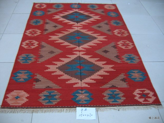 Tapis rectangulaire turc Kilims aiguille tapis Rectangle laine de mouton naturelle