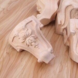 Image 5 - Muebles con patas de madera maciza flor tallada mueble de TV pies de asiento sin pintura