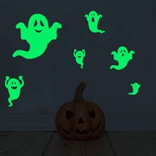 купить Home Halloween Luminous Wall Stickers Halloween Bats Furtive Eyes Home Decor Fluorescent Wallpaper Poster Glow In The Dark P по цене 103.56 рублей