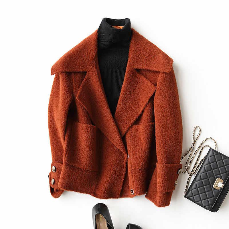 AYUNSUE 2019 New Autumn Winter Wool Coat Female Alpaca Cashmere Coats Casual Short Woolen Jackets For Women Overcoat KQN37055