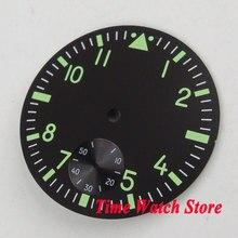 38.9 Mm Zwart Sterial Dial Fit Eta 6498 Hand Winding Uurwerk Wijzerplaat Lichtgevende Groene Marks D108