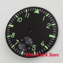 38.9mm siyah steril dial fit ETA 6498 el sarma hareket izleme kadran aydınlık yeşil işaretleri D108
