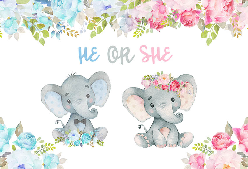 boy girl Elephant Baby Shower Pink Flower Leaves  photo backdrop  High quality Computer print party backgrounds|Background| |  - title=