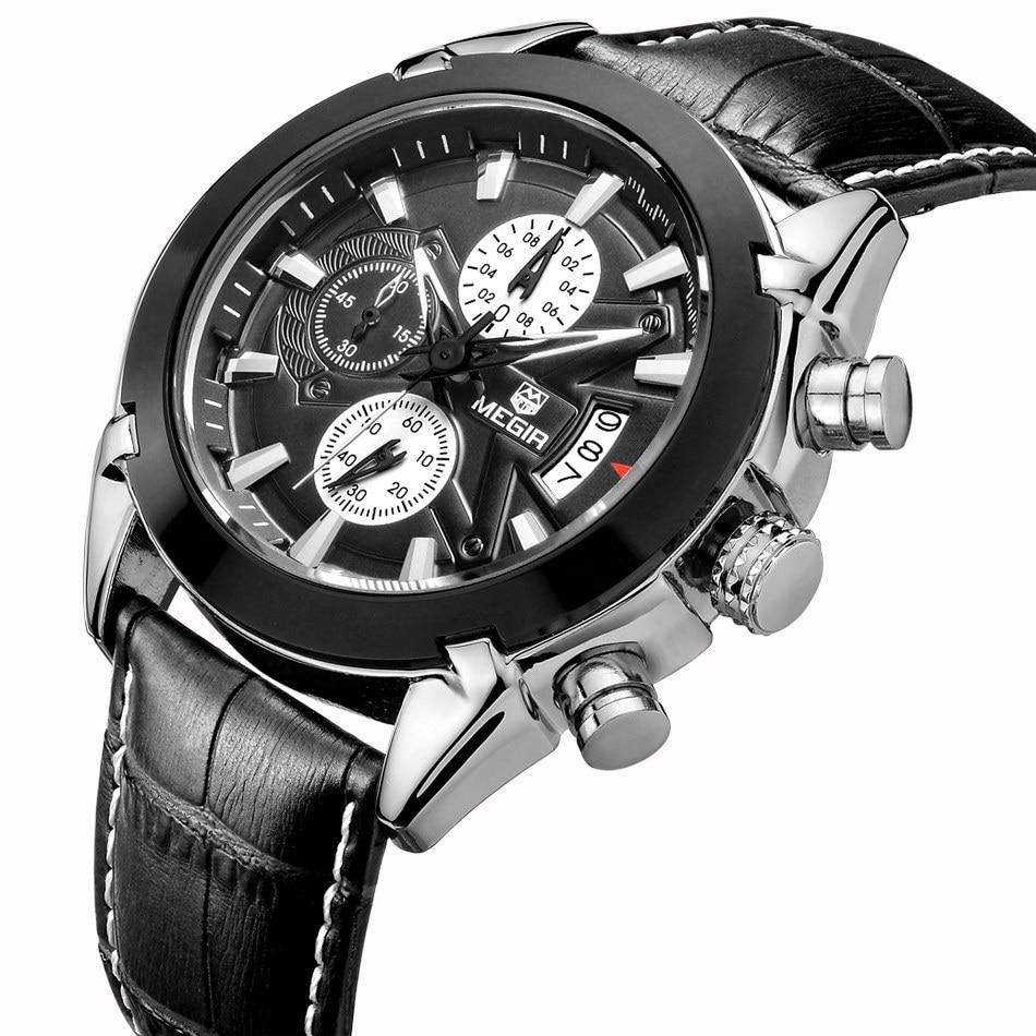Relogio Masculino MEGIR Funkcja Chronograph Mens Watch skórzana - Męskie zegarki - Zdjęcie 4