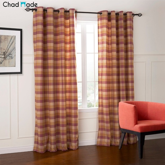 ChadMade Custom Size Window Curtains Polyester Cotton Blend Fabric High Quality Blackout Lined Curtain For Bedroom