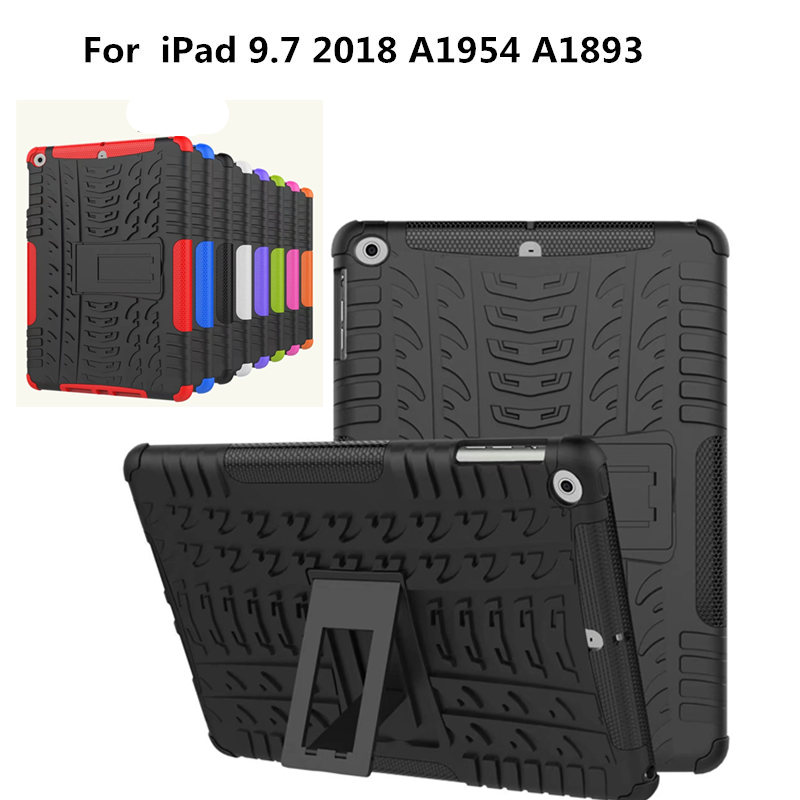 ShockProof TPU PC Hybrid Heavy Duty Stand Tablet Case Hard Cover Rugged Rubber Armor For New iPad 9.7 inch 2018 A1954 A1893 tablet case for ipad air 2 a1567 extreme heavy duty shockproof rubber cover with stand hard cover case for ipad pro 9 7 inch