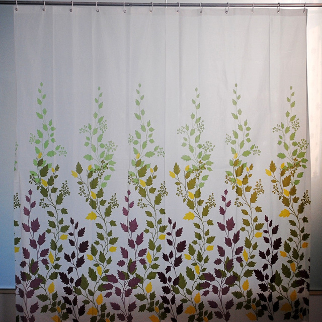 Feiqiong Brand PEVA NON Toxic Bathroom Shower Curtains Waterproof Fabric Rustproof Metal Grommets Leaves Pattern