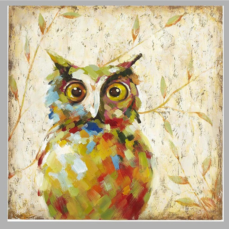 Large Knife Night Owl Pictures Hand-painted Abstract Animal Oil Paintings on Canvas Modern Funny Nighthawk Painting Wall Arts