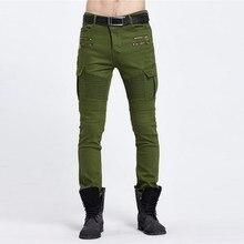Uwback 2017 Военное Дело Джинсы для женщин Для мужчин Slim Fit Stretch В армейском стиле; зеленый цвет джинсы мода байкер Джинсы для женщин Homme CAA297