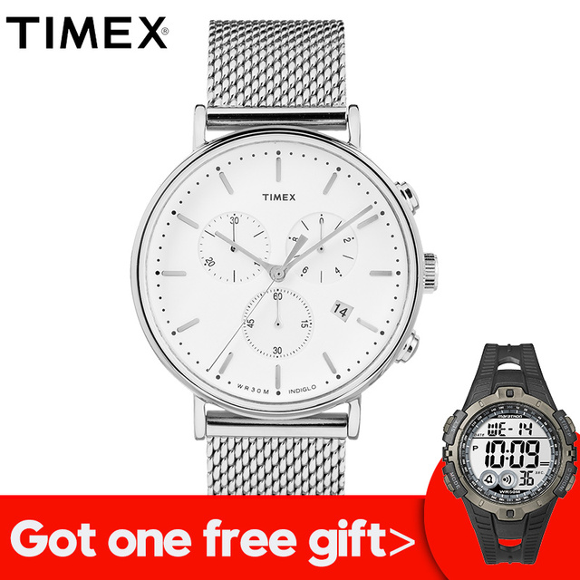 751d1228a908 2018 Real Promotion For Timex Mens Watches Tw2r271 Fairfield Chronograph  Steel Quartz Multi-function Indiglo Luminous Watch