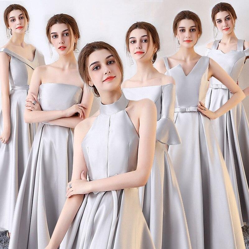 Grey Long Satin   Bridesmaid     Dress   2019 Elegant   Dress   Bride Girlfriends Group Toast Reflective   Dress   Burgundy   Bridesmaid     Dresses