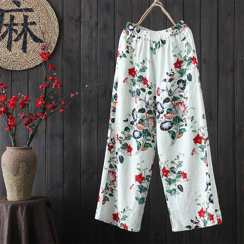 spring Vintage new Womens elastic waist cotton and linen Print Ankle-Length   Pants     wide     leg     pants   casual straight   pants   trousers