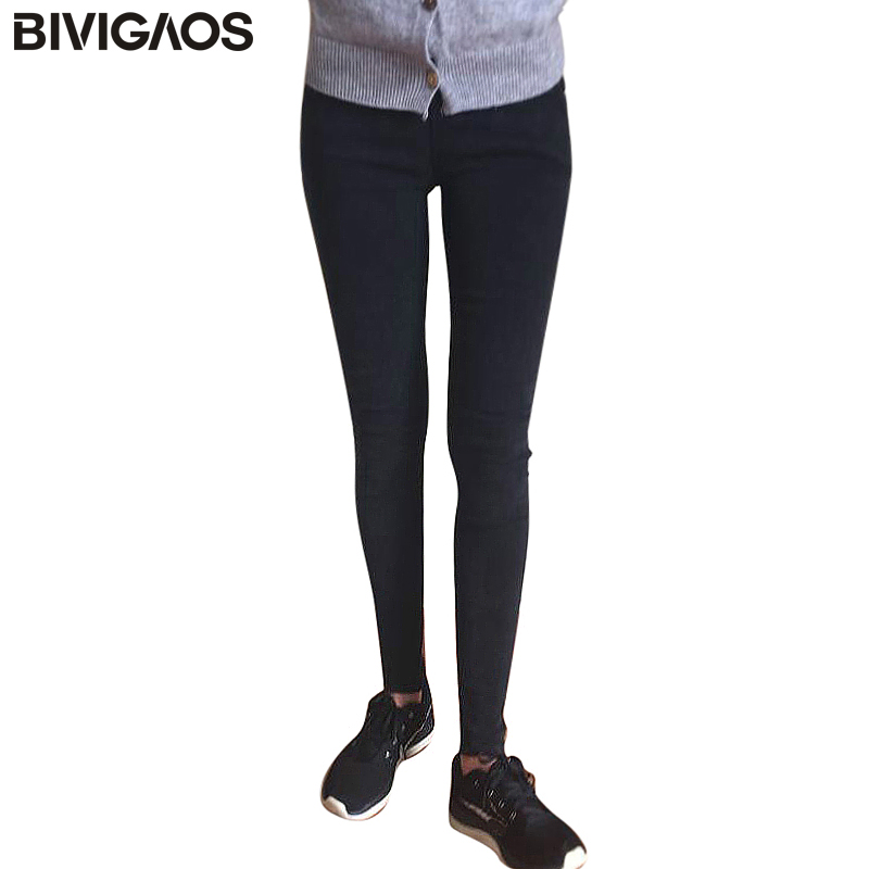 BIVIGAOS Spring Autumn Women Kasual Denim Denim Denim Pensil Celana Jeans Jeans Leggings Jeggings Seluar Pakaian Wanita