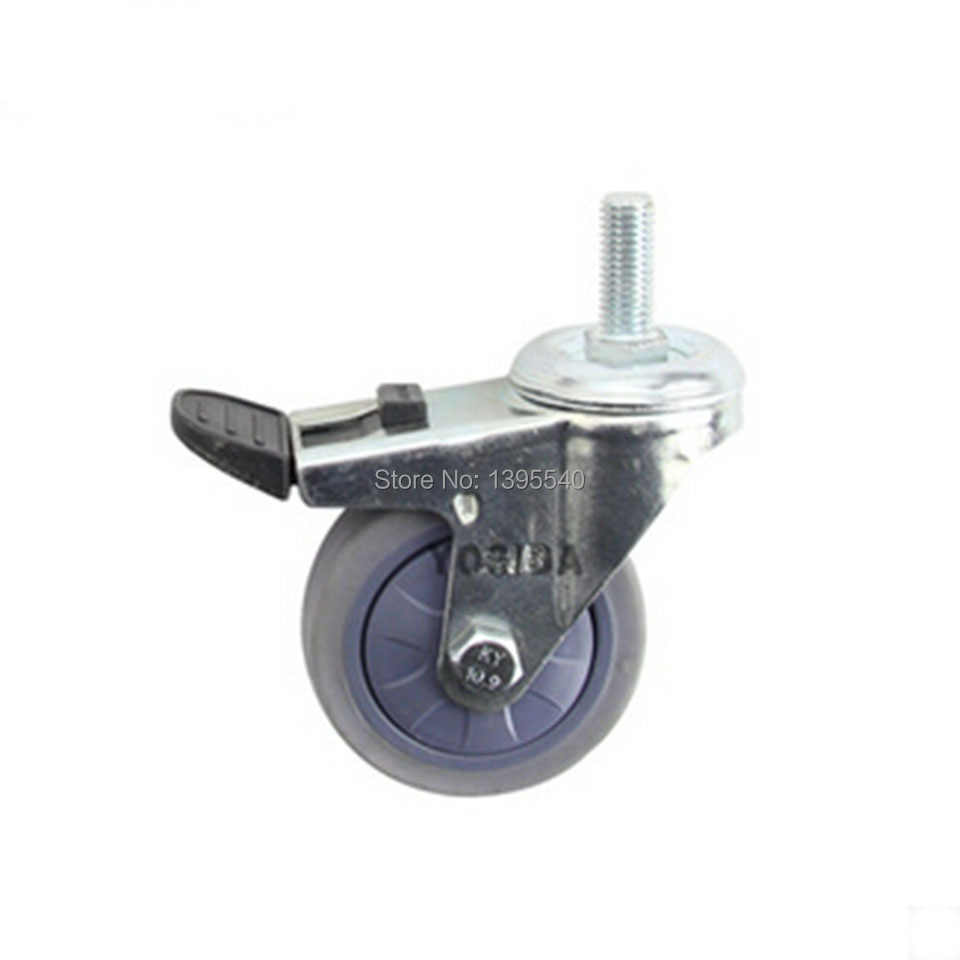 New  3'' Swivel Wheels Caster Industrial Castor Univeral Wheel M10 Screw Silence Artificial Gum 360 Degree Rolling Heavy Casters