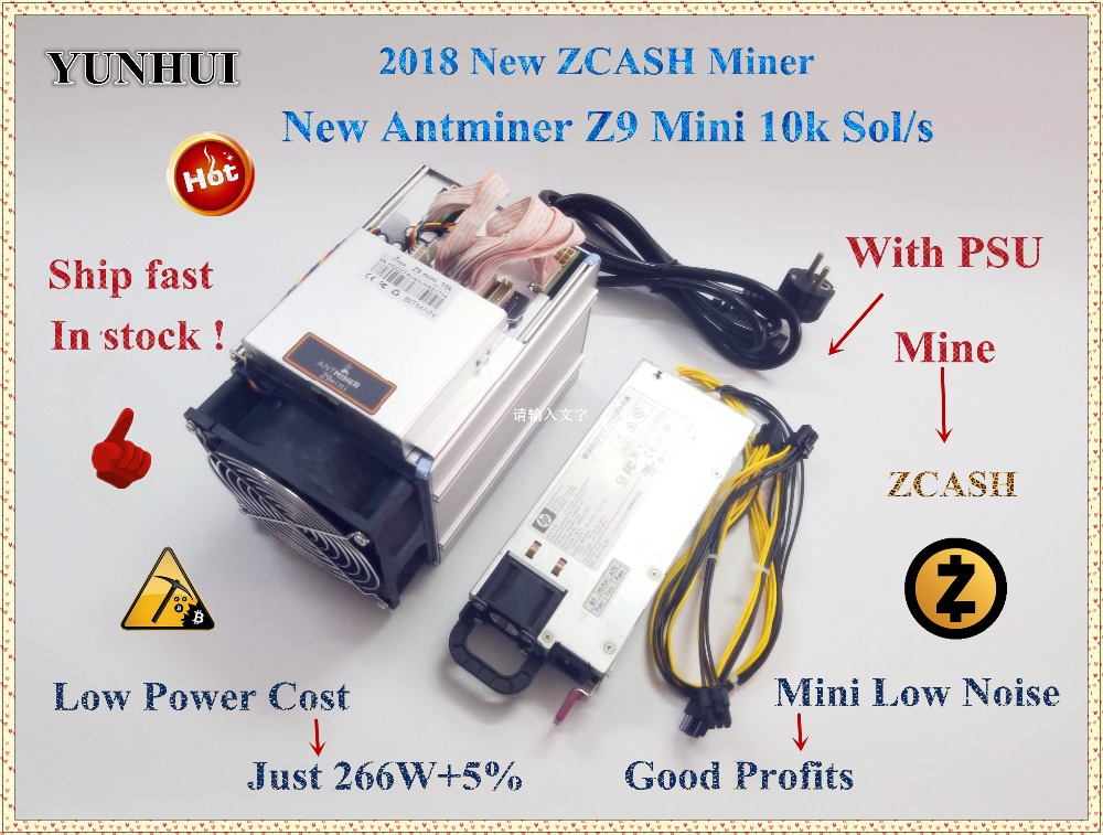 Ship in 24 hours Economic ZCASH Miner Bitmain Antminer Z9 Mini 10k Sol/s 300W With 750W PSU Asic Equihash Miner,High Profits