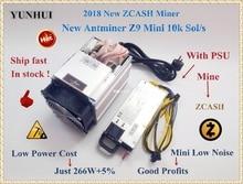 Доставка в течение 24 часов экономические ZCASH Шахтер Bitmain Antminer Z9 мини 10 К Sol/s 300 Вт с 750 вт PSU Asic Equihash шахтер, высокая прибыль