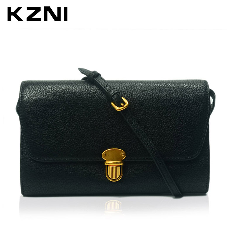 KZNI Genuine Leather Women Bag Wallet Card Holder Crossbody Shoulder Clutch Handbags Sac a Main Femme De Marque 2137