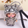 2016 new Monchichi keychain 8cm Crystal Monchichi Dolls pompom Key ring lady bag car pendant wholesale