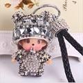 2016 new Monchichi keychain 8cm Crystal Monchichi Dolls pompom Key ring lady bag car pendant wholesale