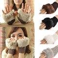 Удивительная Мода Зима Трикотажные Искусственного Меха Перчатки Без Пальцев Женщины Наручные Мягкие Теплые Варежки Бесплатная Доставка