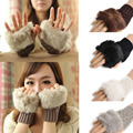 Amazing Fashion Winter Knitted Faux Fur Fingerless Gloves Women Wrist Soft Warm Mitten Free Shipping