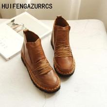 HUIFENGAZURRCS-New pure handmade Genuine leather shoes,the retro art mori girl Flats boots,Women literature Casual Single boots