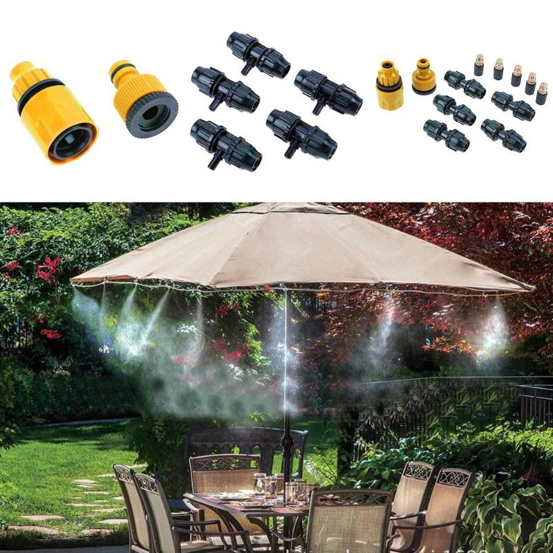 5m Hose 5pcs Spray Head Outdoor Garden Supplies Misting Cooling System Mist Nozzle Sprinkler Water Kits System
