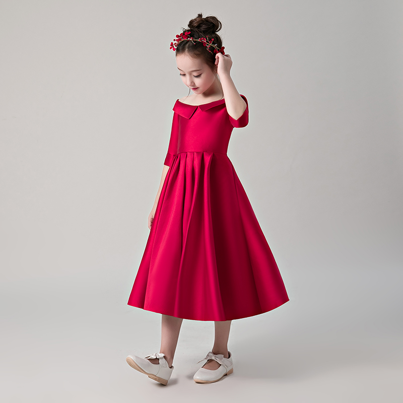 Wine Red Satin Flower Girl Dresses for Wedding Off Shoulder Kids Pageant  Dress Birthday Party Dress Half Sleeve Princess Gowns a2274e21730f