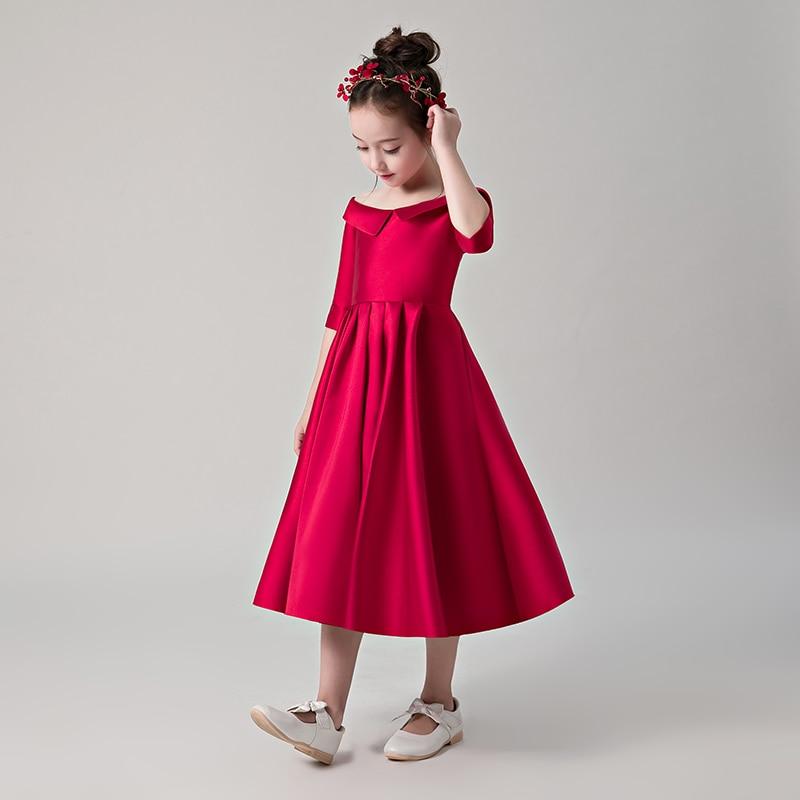 Wine Red Satin Flower Girl Dresses for Wedding Off ...