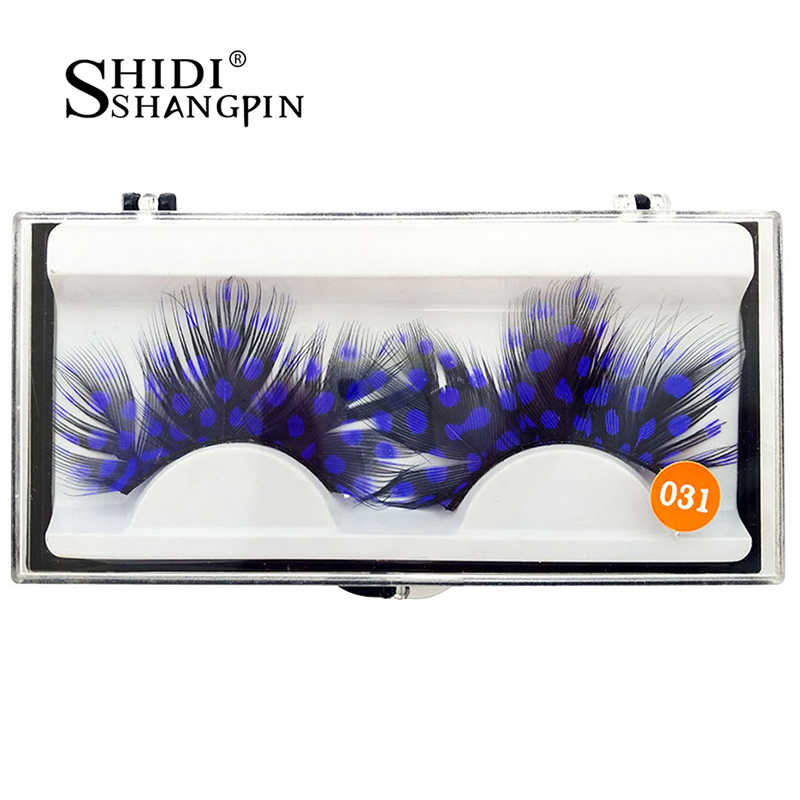 b561420fc4 ... 1 Pair Party Fake Eyelashes Blue Dot Black Feather False Eyelashes  Natural Long Make Up Activity ...