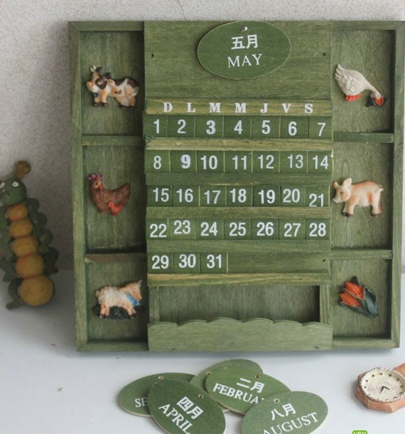 New Arrival DIY Perpetual Wooden Calendar Creative Vintage Wooden Calendar Large Wall Calendars Home Office Stationery