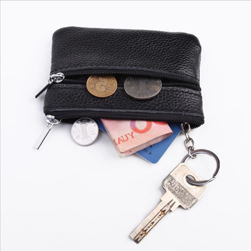New Ultra-thin Mini Women Coin Purse Genuine Leather Key Wallet Multifunction Zipper Lady Coin Wallet Card Holder Key Chain