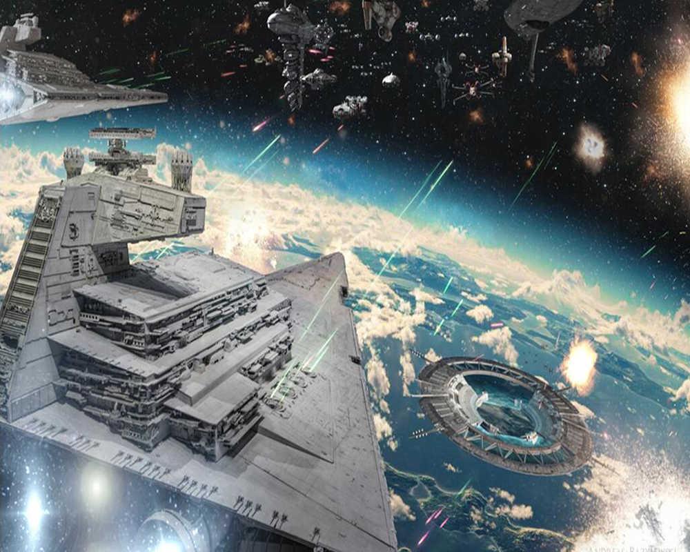 カスタム壁紙スターウォーズ宇宙船の背景の壁 生地 織物壁装材 Aliexpress