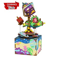 US Buyer Super Deal Robud DIY 3D Universe Animal Wooden Puzzle Game Assembly Music Box Toy Gift for Children Teens Adult AM403(China)
