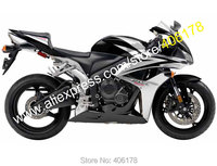 Hot Sales,For Honda CBR600RR F5 07 08 CBR 600RR 2007 2008 Silver and Black Bodywork Motorcycle Fairing kit (Injection molding)