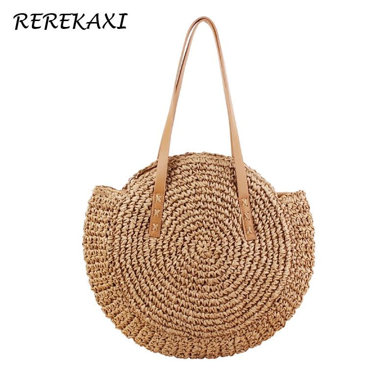 REREKAXI tejida a mano redonda mujer bolso de hombro bolso bohemio de paja de verano playa bolsa de compras mujer bolso de mimbre bolsas