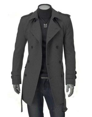 Venta de otoño e invierno nuevo abrigo de doble botonadura de lana larga delgada abrigos para hombres más el tamaño XXXL