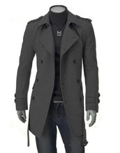 sale autumn and winter new coat double breasted long wool slim coats for men plus size XXXL