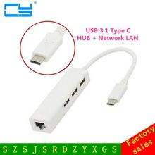 USB three.1 Kind C USB-C A number of three Ports Hub with Ethernet Community Lan rj45 Adapter for Macbook 12-inch& Chromebook