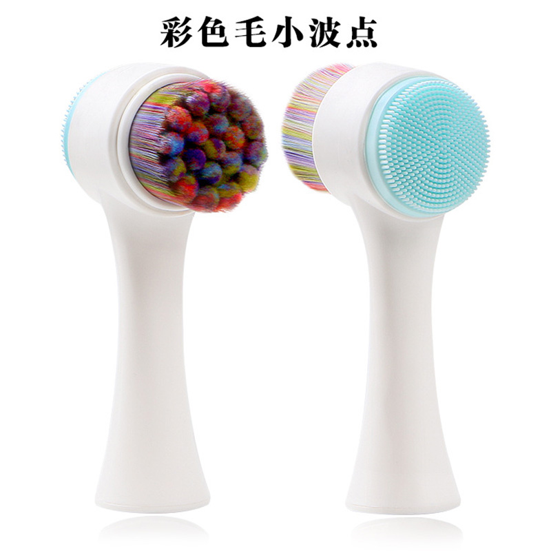 Купить с кэшбэком Double-sided Popular 3D Wash Face Brush Facial cleanser Brush Deep Cleaning Makeup Brush Color Bristles